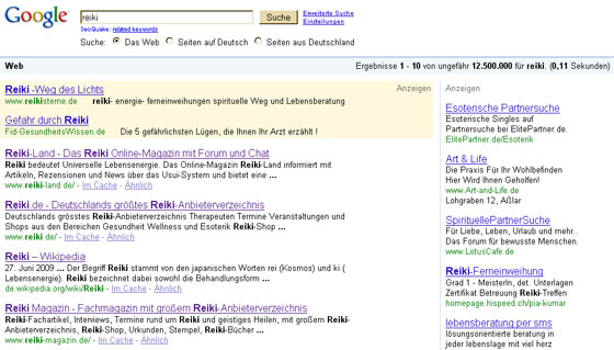 Reiki bei Google